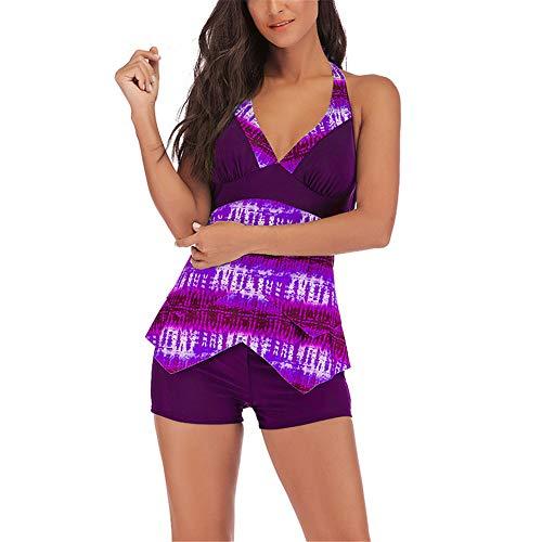 Costumi Bagno Donna Due Pezzi Tankini Patchwork Halter Layered Costumi da Bagno con Pantaloncini Moda Casual Scollo a V Backless Slim Fit Costumi da Bagno Estate Beach Party Costume da Bagno S