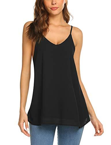 Beyove Damen Ärmellose Bluse Chiffon V-Ausschnitt Elegant Weste Top Hemdbluse Doppelschicht Sommer Loose fit T Shirt (XXL, Schwarz)