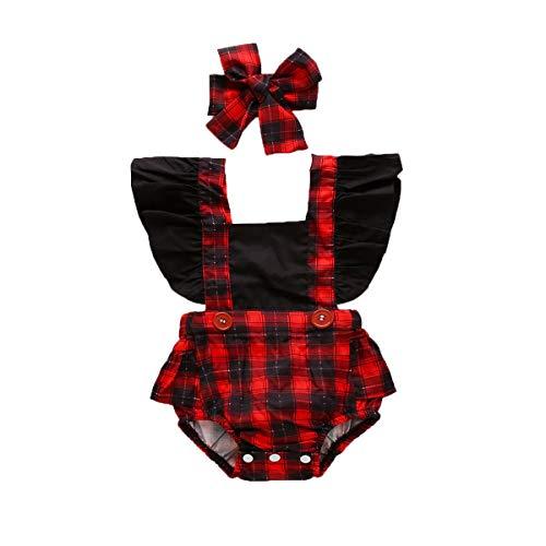 overol de bebé recién nacido con manga con volantes y espalda de guepardo sin espalda enterizo, A cuadros, 6-12 Meses