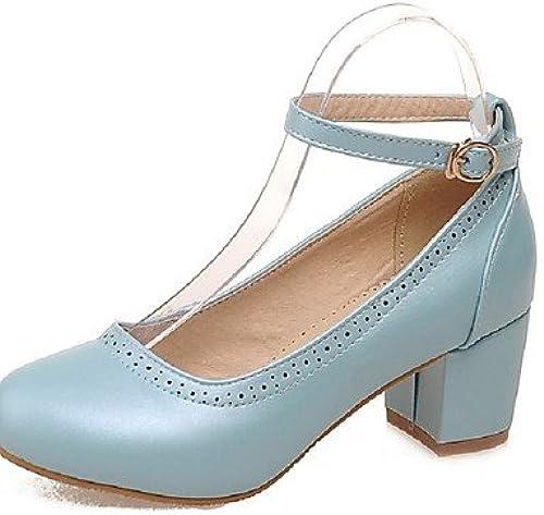 Ggx femme Chaussures PU été Bout Rond talons Bureau Bureau & carrière décontracté Grosse Boucle à talon Noir bleu rose blanc  belle
