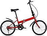 20 Pulgadas Bicicleta Bici Ciudad Plegables Adulto Hombre Mujer, Bicicleta de Montaña Btt MTB Ligero Folding Mountain City Bike Doble Suspension Bicicleta Urbana Portátil, H105ZJ
