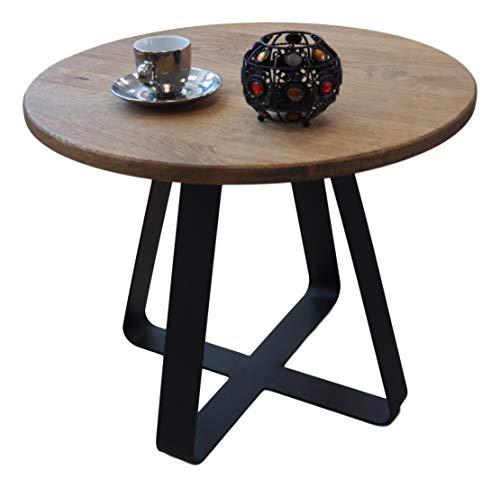 Lumarc Roma - Mesa de centro Side Table, mesita de noche de madera maciza de roble natural, diseño moderno, industrial minimalista, redonda, diámetro 50 x 40 cm (negro)