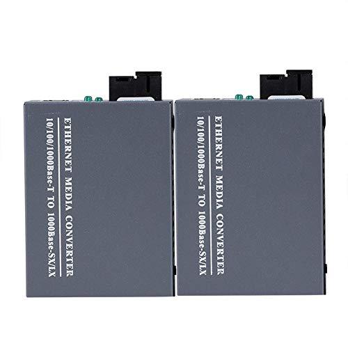 Convertidor de Medios de Fibra SC de Modo único Gigabit Ethernet de 2 Piezas, IEEE802.3 10Base-T e IEEE802.3u 100Base-TX, 100Base-FX, 10/100/1000M RJ45 a SC (2 adaptadores de Corriente incluidos)