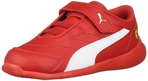PUMA Baby SF Kart CAT Velcro Sneaker, White-Rosso Corsa, 8 M US Toddler