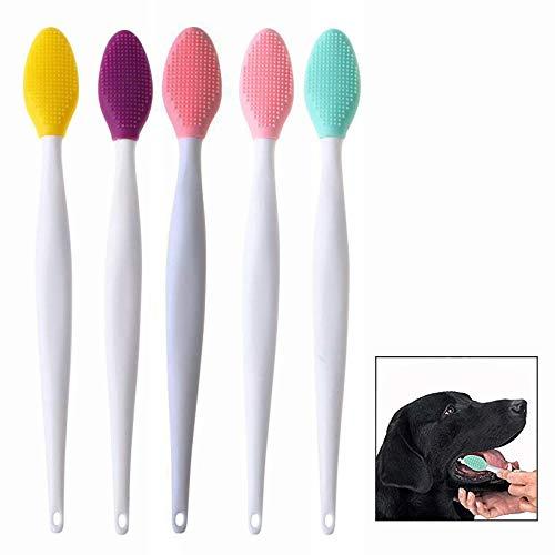 LHKJ 5 pezzi Spazzolino da Denti per Cani,Pulizia dei Denti in Silicone,per la Pulizia Quotidiana dei Denti di Cani e Gatti