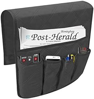 Organiseur d'accoudoir 5 poches antidérapant pour canapé, sac de rangement, convient pour tablette, téléphone, bloc-notes,...