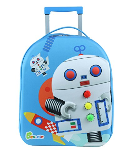 Bouncie Kinder-Trolley mit 3D-Roboter-Motiv, Reise-Trolley, Kindergepäck, blau