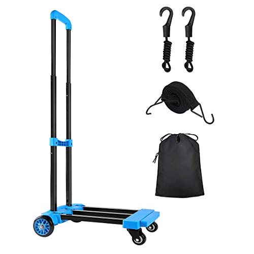 KEDSUM Folding Hand Truck, 70 Kg/155 lbs Heavy Duty 4-Wheel Solid Construction Utility Cart Compact and Lightweight for Luggage, Personal, Travel, Auto, Moving and Office Use (Blue Color-PU Wheels)