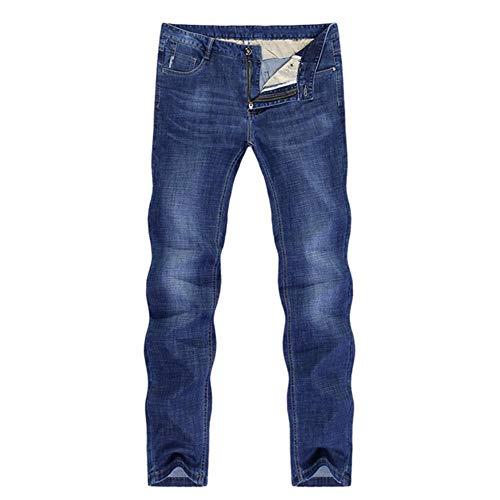 YANGPP Jeans pour Hommes Stretch Solid Blue Straight Regular Fit Jeans Poches Leisure Businessman Long Trousers Male Homme, Blue, 29