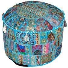 Indus Lifespace Life Space (azul) cómodo adornado con bordados vintage indios otomano cubierta taburete retaburete de retazos decoración de pies puf textiles redondos |45.72 cm por 33.02 cm |