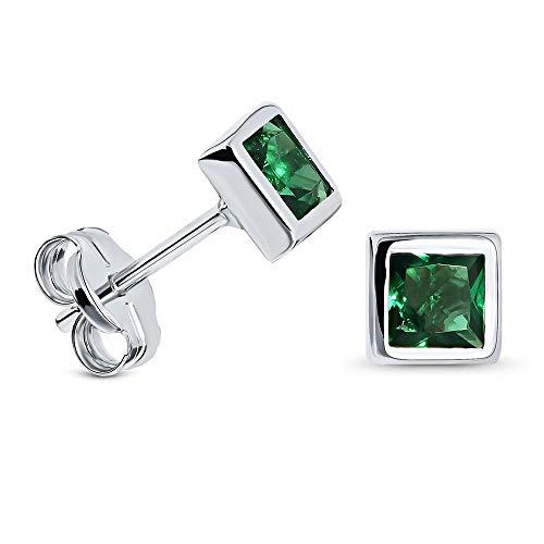 Miore pendientes cuadrados de presion para mujer en oro blanco de 9 kt 375 con esmeralda verde