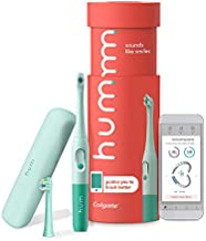 hum by Colgate Smart Battery Toothbrush Kit, Sonic Toothbrush Handle with 2 Refill Heads and Travel Case, Teal, Amazon exclusive