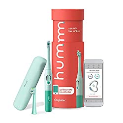 hum by Colgate Smart Battery Toothbrush Kit, Sonic Toothbrush Handle with 2 Refill Heads and Travel