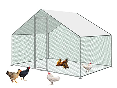 Large Metal Chicken Coop Walk-in Poultry Cage Hen Run House Rabbits Habitat Cage Steeple Roof with Waterproof and Anti-Ultraviolet Cover for Outdoor Backyard Farm (10' L x 10' W x 6.6' H)