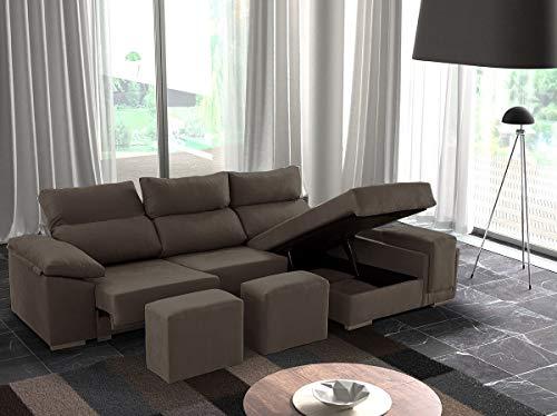 Sofá de 3 plazas Modelo Senegal con chaiselongue a la Derecha, Asientos deslizantes y arcón. Color Gris Marengo
