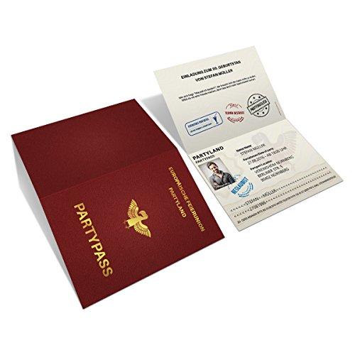 Einladungskarten zum Geburtstag (30 Stück) als Reisepass Klappkarte mit Foto Ausweis Pass