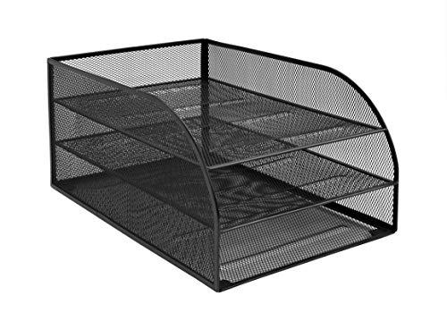 Osco 3TLTA-BLK - Bandeja para cartas de 3 niveles de malla metálica montada, color negro