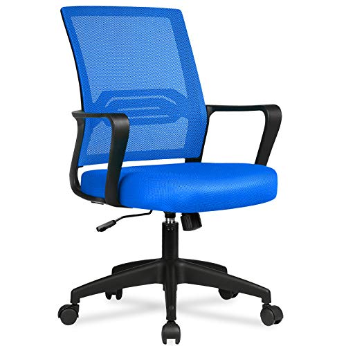 COMHOMA Office Chair Desk Ergonomic Chair with Arms Back Support Mesh Chair for Home Office (Blue)