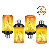 4pcs bombillas de efecto de llamas LED, lámparas de llama, bombilla parpadeante de 4 modos E27 luces de llama