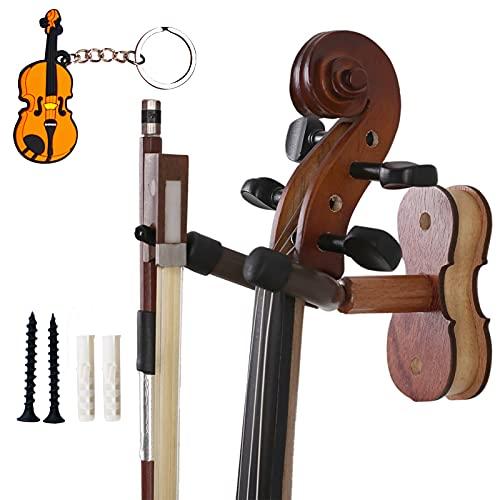 Moreyes - Gancio da parete per violino, Supporto ad arco in legno con portachiavi a forma di violino, Rosewood Color