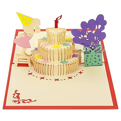 SUSSURRO 3D Carte D'anniversaire Pop Up D'anniversaire Cartes Conception de Gâteau avec Motif Papier Découpé Créatif pour Anniversaire, Vacances pour Mères, Fille, Enfants, Amis