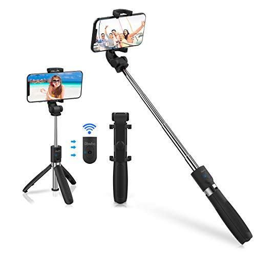 Abafia Bluetooth Selfie Stick, 3 in 1 Wireless Selfie Stick Stativ 360° Rotation, Einziehbarer Tragbarer Handy Selfie Stick mit Bluetooth-Fernbedienung, für 4.5-6.5 Zoll Android und IOS Handys