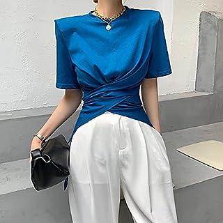 Wanxiaoyyyindx T Shirts for Women, Short-sleeved Women's Solid Color T-shirt Women's Fashion Slim Waist Loose O-neck Blous...