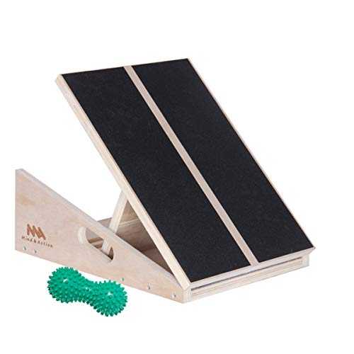 Mind and Action Slant Board,Calf Ankle Stretcher, 5 Adjustable Angles, Full Non-Slip Surface, 16 inches x 12.5 inches, 400 LB Capacity,with Spiky Massage Ball