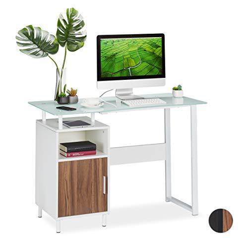 Relaxdays Schreibtisch, glänzende Glasplatte, 2 Ablagen, Home Office, Jugendzimmer, Bürotisch, HBT 76,5x110x55 cm, weiß, PB, Metall, Glas, 5 x 110 x 55 cm