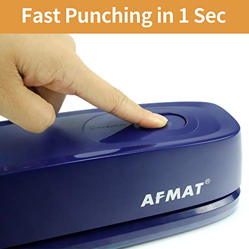 Electric 3 Hole Punch, AFMAT 3 Hole Punch Heavy Duty, 20-Sheet Punch Capacity, AC or Battery Operated Paper Puncher, Effortless Punching, Long Lasting Paper Punch for Office School Studio, Blue Photo #4
