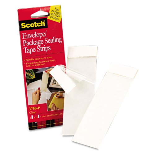 Scotch 3750P2CR Envelope/Package Sealing Tape Strips, 2-Inch x 6-Inch, Clear, 50/Pack