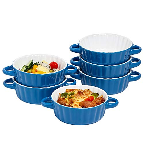 Bake And Serve - 10 Oz Oven Safe Set Of 6 Ceramic Souffle Dishes, Round Double Handle-Ramekins-Baking Mini Pie Dish w/Handles For Pudding, Creme Brulee, Souffle, Blue