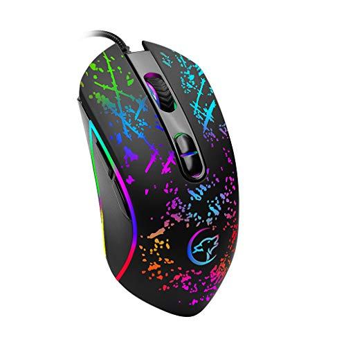 Yowablo Mechanische Gaming-Maus mit Farbiger Hintergrundbeleuchtung und USB-Kabel für Laptops (Schwarz)