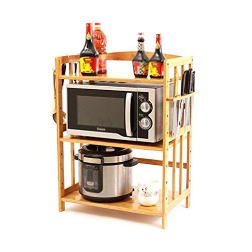 SMC Shelf Estante de cocina de bambú para microondas, sala de estar, almacenamiento multicapa, estante de almacenamiento de madera maciza (tamaño: 47 x 38 x 46 cm)