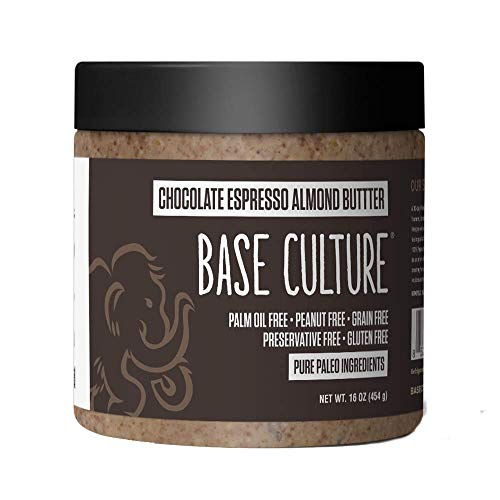 Base Culture Almond Butter, Chocolate Espresso   All Natural 100% Paleo Certified, Gluten Free, Grain Free, Non GMO, Dairy Free, Soy Free, Keto Friendly   16oz, 1 Count