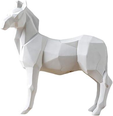 Office Home Decorations ,Black Bedroom Sculpture//Statue Suitable for Living Room Geometry Horse Sculpture 23X8X24Cm Desktop Resin Crafts Gift