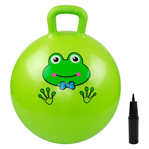 EVERICH TOY Hopper Ball, Hopping Toys for Toddlers,18inches Hopping Ball Toys for Kids Age 3-9, Gift for Boys and Girls ,with Pump (Green Frog, 18Inches)