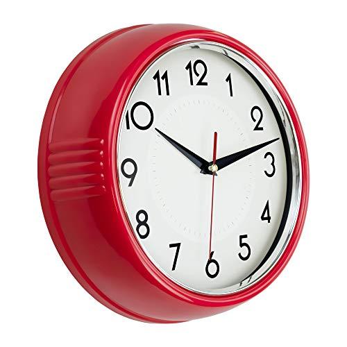 Foxtop Horloge Murale Rétro 23 cm Cuisine Design Vintage Années 50 Rond Silencieux sans Coutil À Piles De Qualité Horloge À Quartz (Argent Rouge)