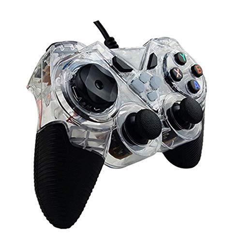 ヘッドフォン ビルトイン非対称モーターサポートコンピュータ/アンドロイドTV/水蒸気/ PS3 /プロジェクター/シミュレータゲーム/Androidのボックス搭載有線ゲームパッドのUSB (Color : Clear, Size : Standard)