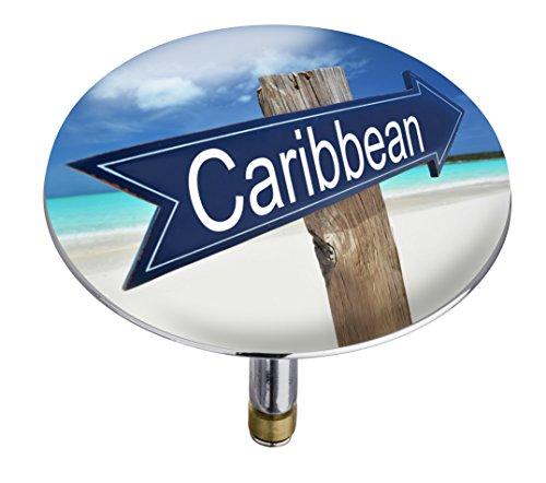 Wenko 21843100 Badewannenstöpsel Pluggy XXL Carribean, Abfluss-Stopfen, für alle handelsüblichen Abflüsse, Kunststoff, 7,5 x 6 x 7,5 cm, mehrfarbig
