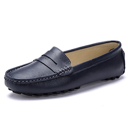 SUNROLAN 818-2lan8 Casual Women's Genuine Leather Penny Loafers Driving Moccasins Slip-On Boat Flats Shoes US 8 Blue