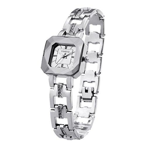 Time100 Orologio Braccialetto da Donna Specchio Cristallo Tagliata Stereo Movimento al Quarzo#W80023L(Bianco)