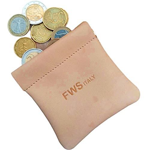 FAST WORLD SHOPPING  Monedero de piel auténtica Pac Pac para monedas Made in Italy bolso beige