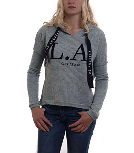 Madonna Sweatshirt Damen CHARDA Kapuzen Pullover Melange mit Flock Print MF-406924 Mint L