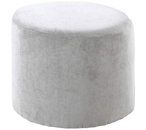Home4You Sitzhocker Polsterhocker Fußhocker | Webstoff | Hellgrau | Ø 45 cm x H 37 cm