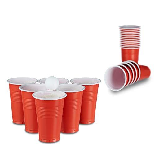 Relaxdays Beer Pong Becher, 50 Stück, stabiler Plastikbecher, Partybecher 16 oz, Trinkbecher Softdrinks u. Bier, rot