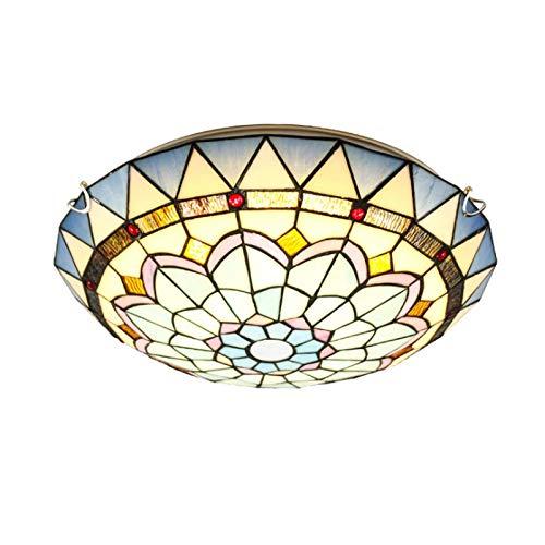 Lámpara de techo LED de montaje empotrado con vitrales mediterráneos LED Plafón...