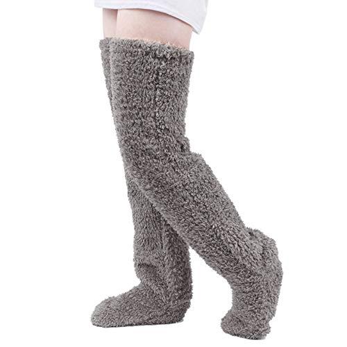Lvcao ロングカバー 極暖 膝保温ロングカバー ルームソックス 膝保温 ロングカバー 足が出せるロングカバー 防寒 ロングルームソックス 靴下 足 冷え取り 歩ける 防寒対策 柔らかい グレー 長さ:70cm
