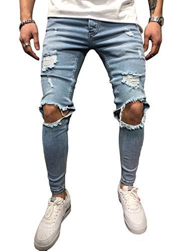 Gescheurd Jeans Heren - BMEIG Slim Fit Stretch Knie Vernietigd Skinny Distressed Denim Biker Jeans Klassieke Designer Gebroken Gaten Hip Hop Werkbroek Herfst Winter M-3XL