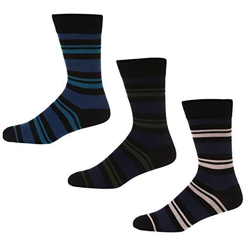 Ben Sherman Herren Roberto Socken, Mehrfarbig (Black/Blue/Pink/Green Stripe 3PKA), 7/10/2019 (Herstellergröße: 7-11) (3er Pack)